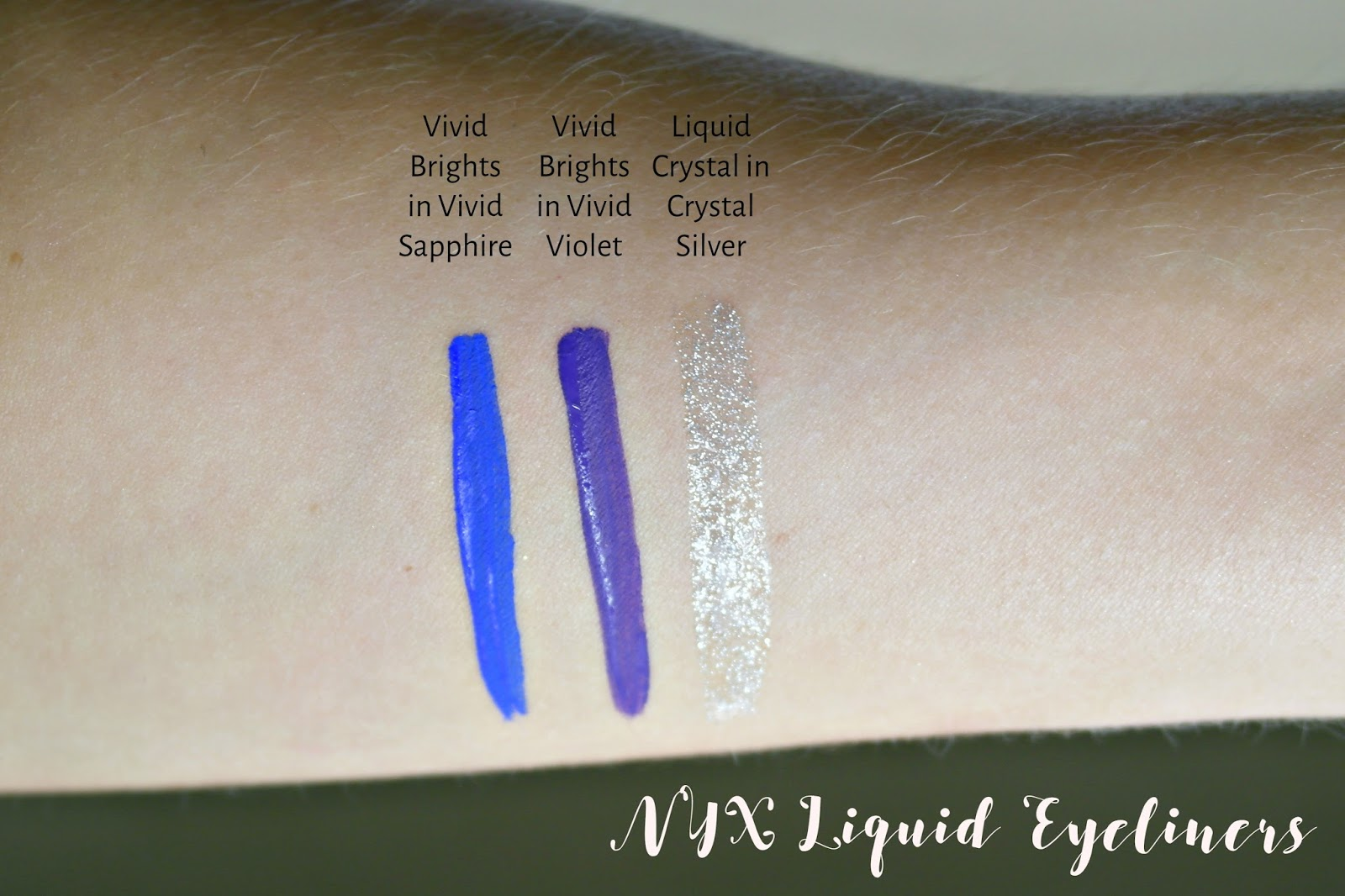 NYX Vivid Brights eyeliner and Crystal Eyeliner, swatch, vivid violet, vivid sapphire, crystal silver