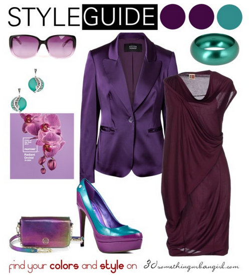 fashionable evening outfit with Radiant Orchid for Deep Winter