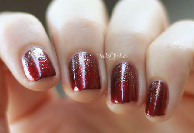 red and gold glitter gradient nail art for short nails