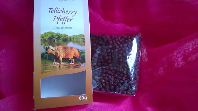 Tellicherry Pfeffer in der Verpackung.