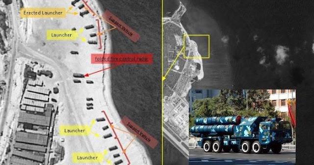 Hình ảnh vệ tinh cho thấy các vị trí lắp đặt tên lửa của Trung Quốc trên đảo Phú Lâm, thuộc Biển Đông
