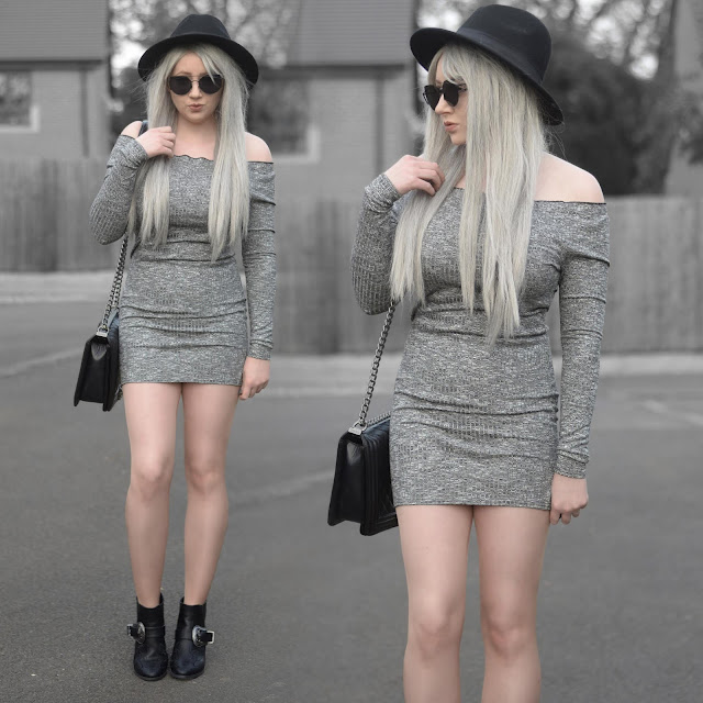 Sammi Jackson - Primark Black Fedora / Zaful Sunglasses / Everything5pounds Grey Ribbed Dress / OASAP Quilted Flap Bag / Misguided Buckled Boots