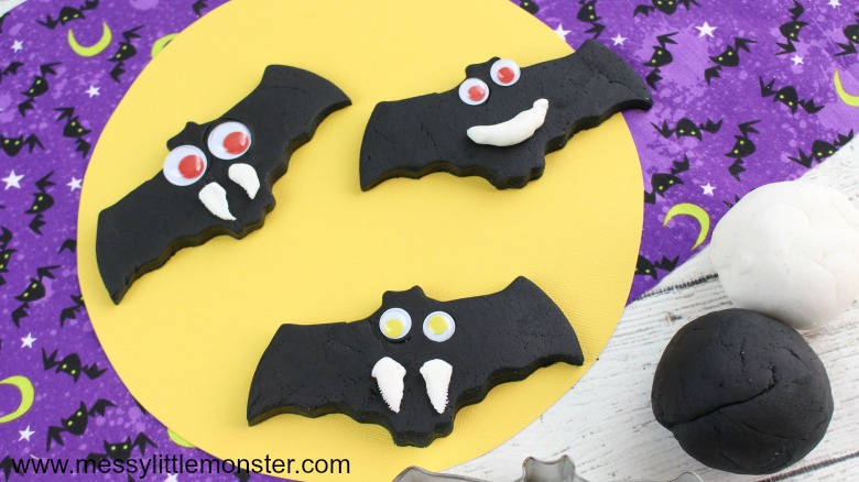 halloween activities for kids - black playdough halloween bat activity