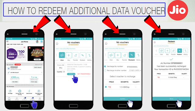 How To Redeem Reliance Jio Additional  Data Voucher