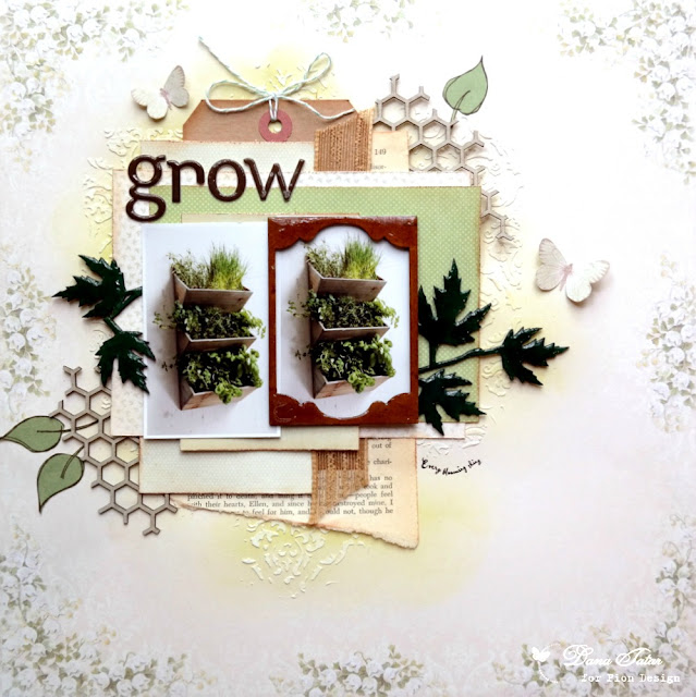 Grow Spring Herb Garden Scrapbook Layout by Dana Tatar for Pion Design - Easter Greetings and Scent of Lavender Collections