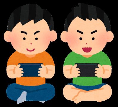 スマートフォンでゲームをやる子供のイラスト(男の子・横)