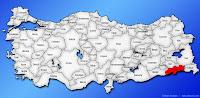 Şırnak ilinin Türkiye haritasında gösterimi