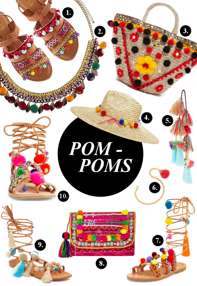 pom pom, pom poms, accessories, Lace up Sandals, Gladiators, Charlotte Russe, Boohoo, Mystique, Asos, Misa, BaubleBar, Elina Linardaki, Alameda Turquesa, Chinese Laundry