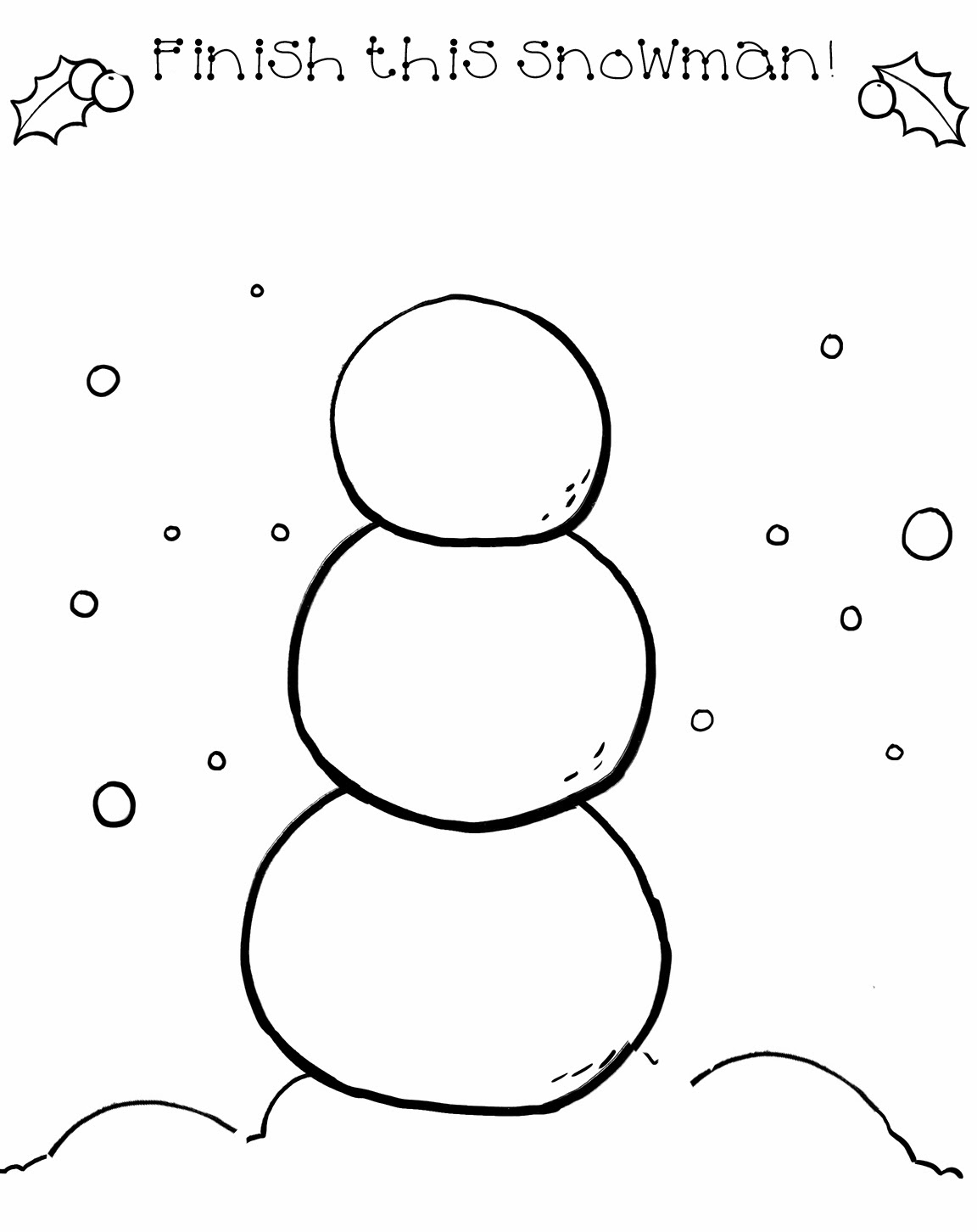Workbooks wishes and feelings worksheets for children : Baby potatoes: Draw a Snowman