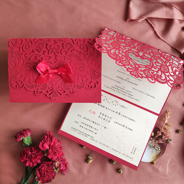 Oriental Red Laser Cut Wedding Invitation Card | Grand Hyatt Kuala Lumpur