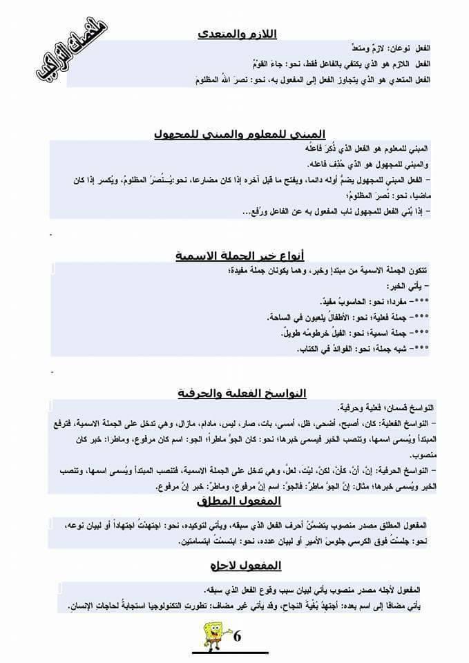 ملخص قواعد اللغة العربية للمقبلين على مباراة التعليم 2017/2016