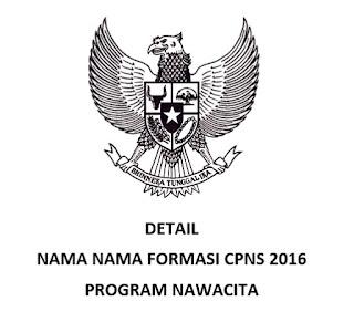 Nama Formasi CPNS 2016 Program Nawacita