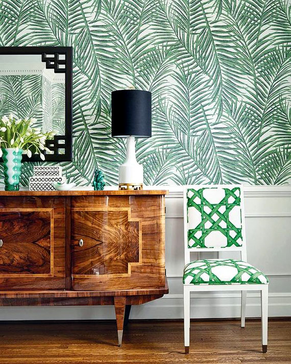 palm leaves wallpaper, art deco style furniture