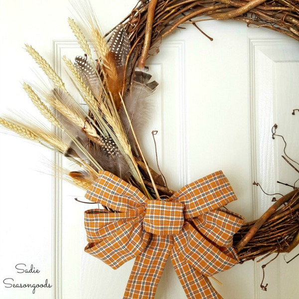 Plaid Shirt Wired Ribbon Wreath from Sadie Seasongoods