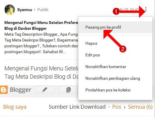 Cara memasang pin artikel blog ke profil google plus