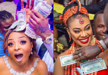 Brides Ehi Ogbebor & Nabila Fash and the dollar rain at their weddings (photos)