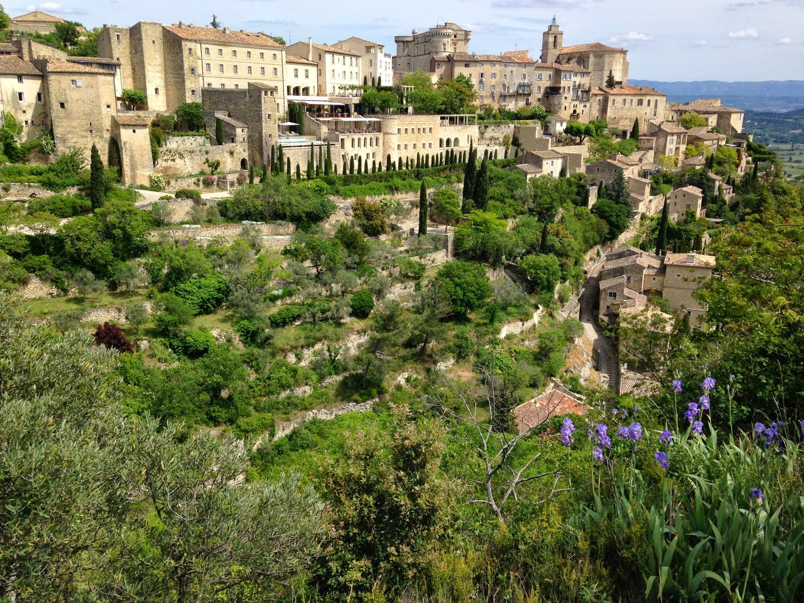 Gordes in early May with Irises
