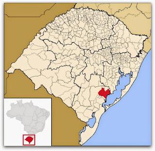 Cidade de São Lourenço do Sul, no mapa do Rio Grande do Sul
