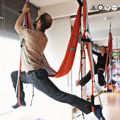 yoga, aeroyoga, aerial yoga, yoga aereo, gravity, columpio, swing, trapeze, cursos, formacion, certificacion, teacher training, airyoga