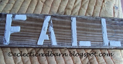 Eclectic Red Barn: Old deck board with after removing paper letters