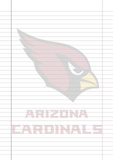 Papel Pautado Arizona Cardinals PDF para imprimir na folha A4
