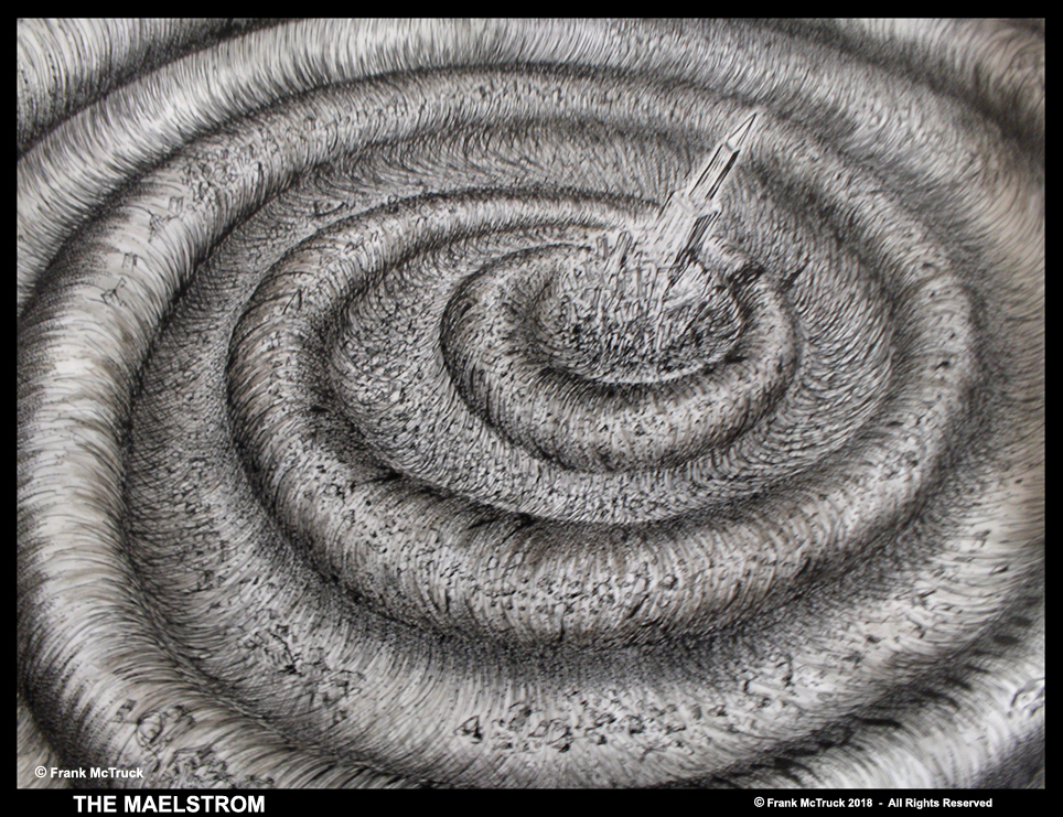 Frank McTruck pen and ink art 'The Maelstrom'
