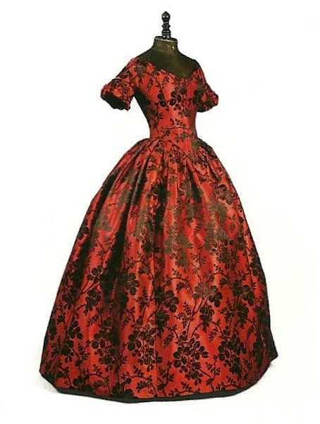 Then & Now ~ Red & Black Brocade Dress