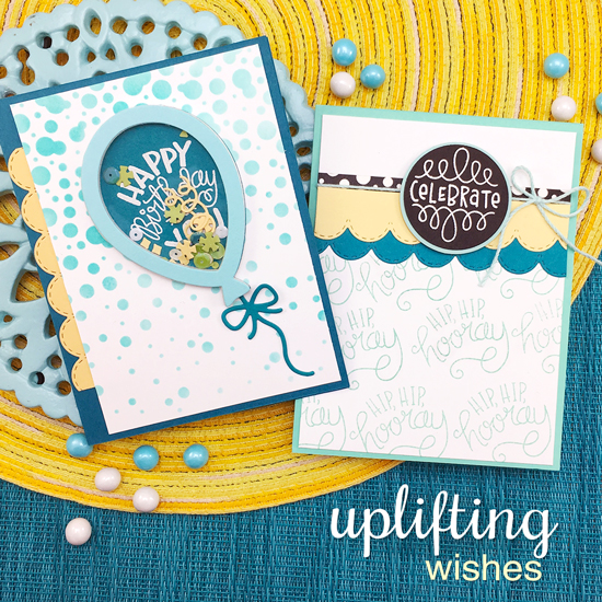 Celebrate and Birthday Cards by Jennifer Jackson | Uplifting Wishes Stamp Set, Bubbly Stencil and Balloon Shaker Die Set by Newton's Nook Designs #newtonsnook #handmade