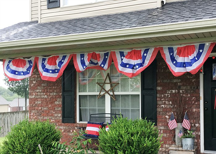 flag buntings, flags, pillows, summer decor, porch decorations