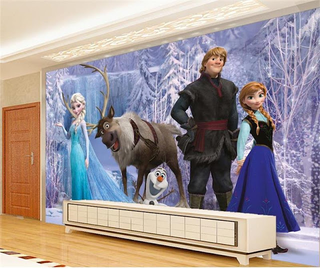 Wallmural online  Frozen wall mural   Disney Frozen wallpaper for     Frozen wall mural Disney Frozen wallpaper for bedroom 3D Kids Baby girl  Room Wallpaper Custom Photo