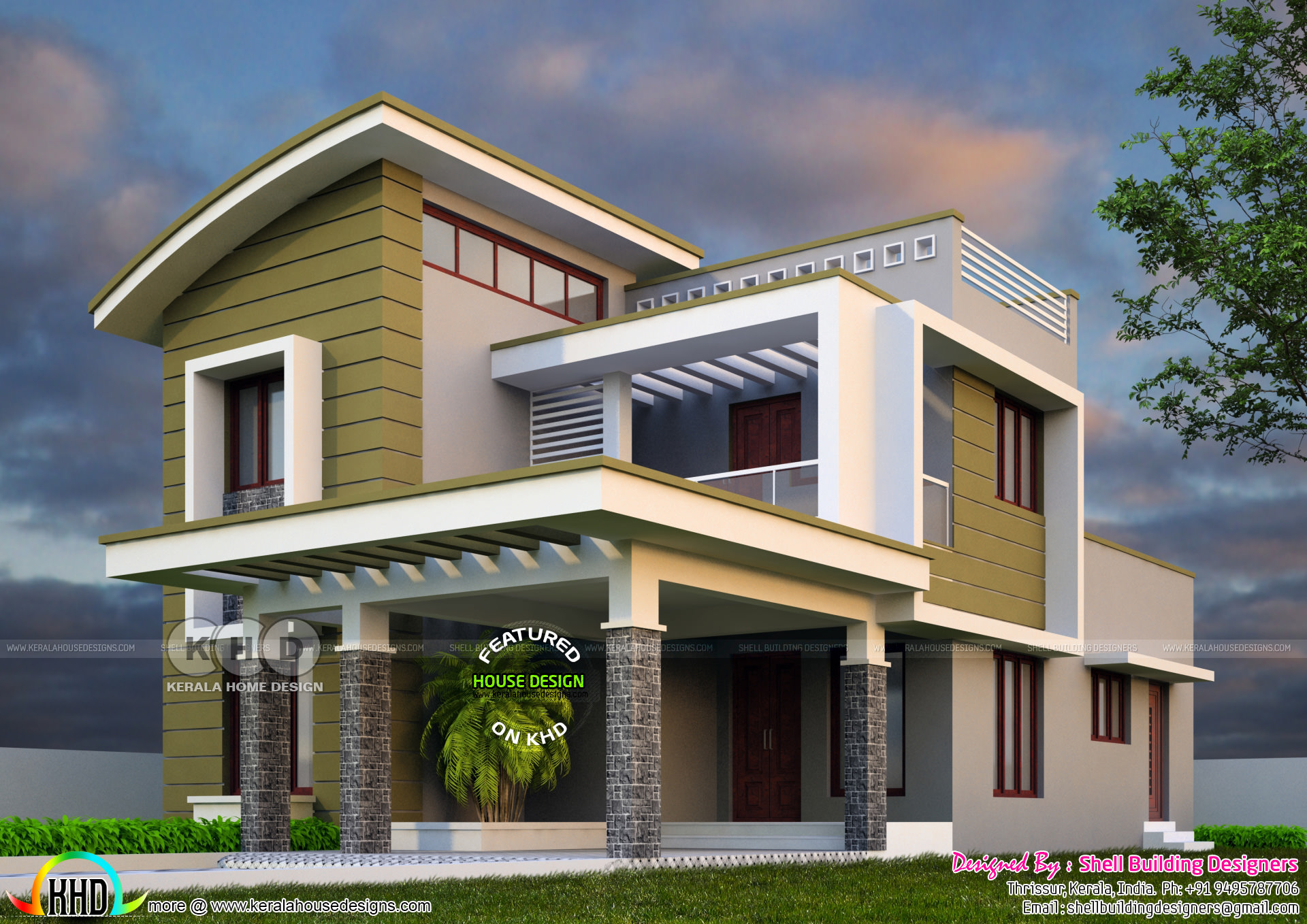 2375 sq ft 4 bedroom modern house plan kerala home for Four bedroom kerala house plans