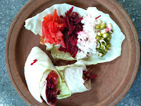 Veg roll: Cabbage, Beetroot, Green gram sprouts, Tomato