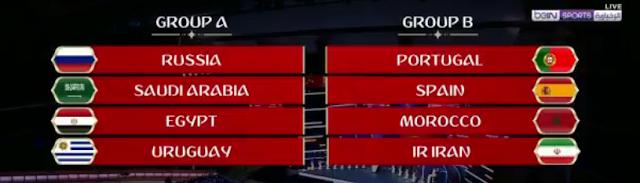 #قرعه_كاس_العالم2018 , مجموعة مصر والسعودية في كأس العالم 2018 بروسيا