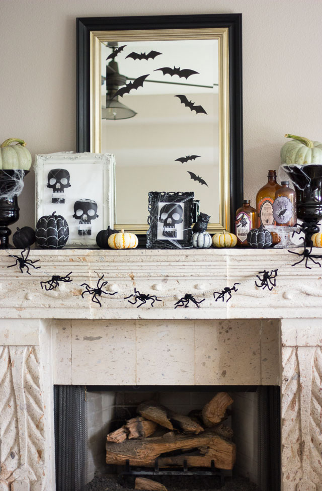 A simple Halloween mantel featuring Martha Stewart decor. #12MonthsofMartha http://designimprovised.com