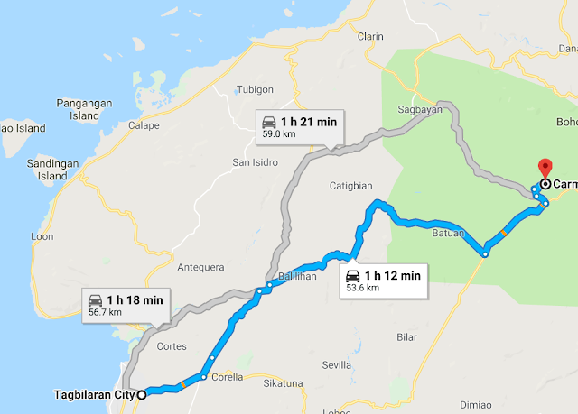 CHAP Bohol Adventure Curious Onion Map Directions fastest way from Tagbilaran to Carmen