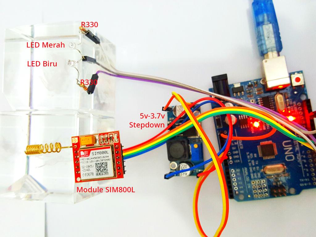 SIM800L : Control LED / Relay menggunakan SMS (Dengan Format