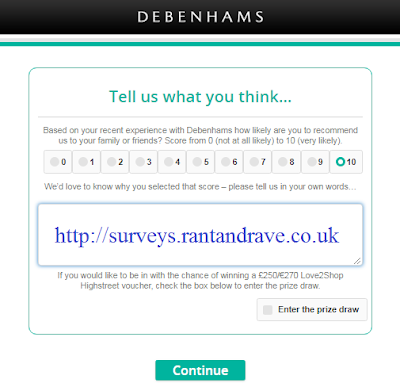Tell your experience to Debenhams Feedback Survey