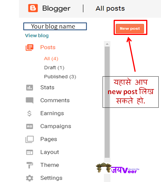 create a new post in blogger