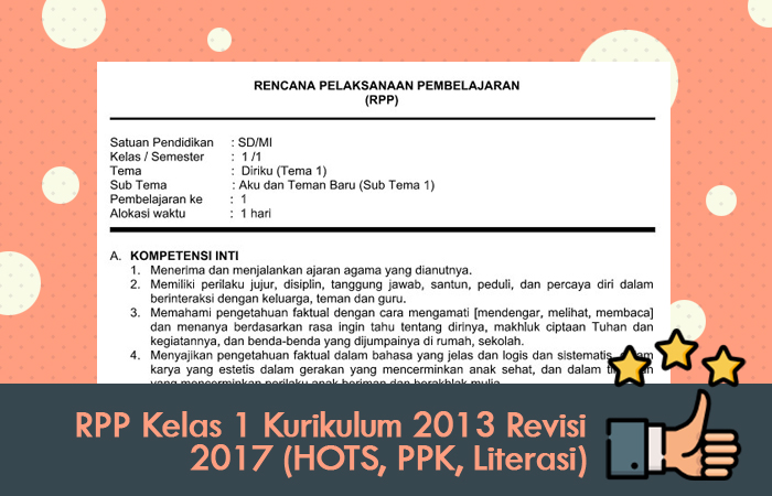 RPP Kelas 1 Kurikulum 2013 Revisi 2017 (HOTS, PPK, Literasi)