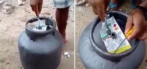 Vídeo mostra o novo golpe do botijão de gás; assista