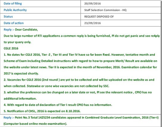 SSC CGL RTI Reply, SSC CGL Vacancies, SSC CGL RTI information