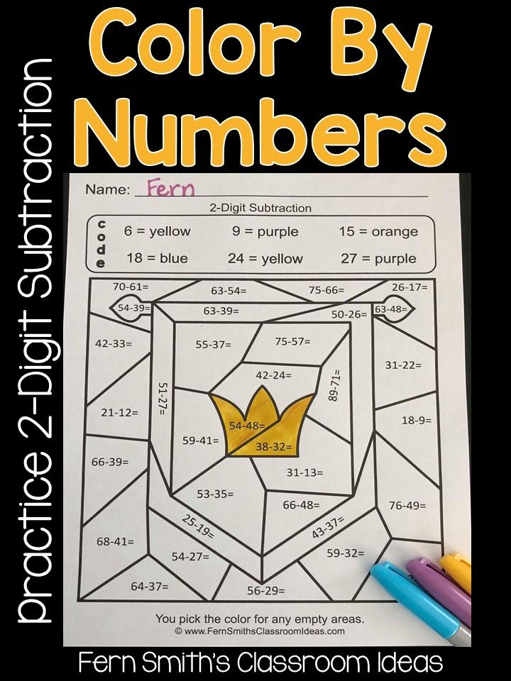 2nd Grade Go Math 5.6 Practice 2-Digit Subtraction Color ...