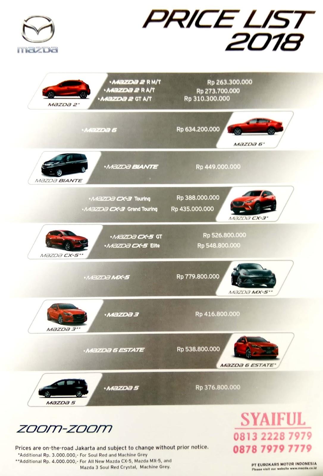 Pricelist Mazda 2018 Dealer Mazda Jakarta Bekasi Tangerang Depok