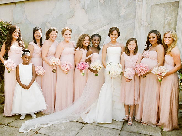 a7dd804a02ec We are going with the brand Amsale in the long style and blush color. All  bridesmaids can chose from the many different style bodices {Amsale Dress  Styles} ...