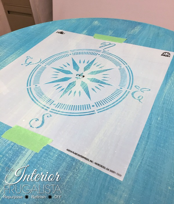 Compass Rose stencil on Bentwood Pedestal Table