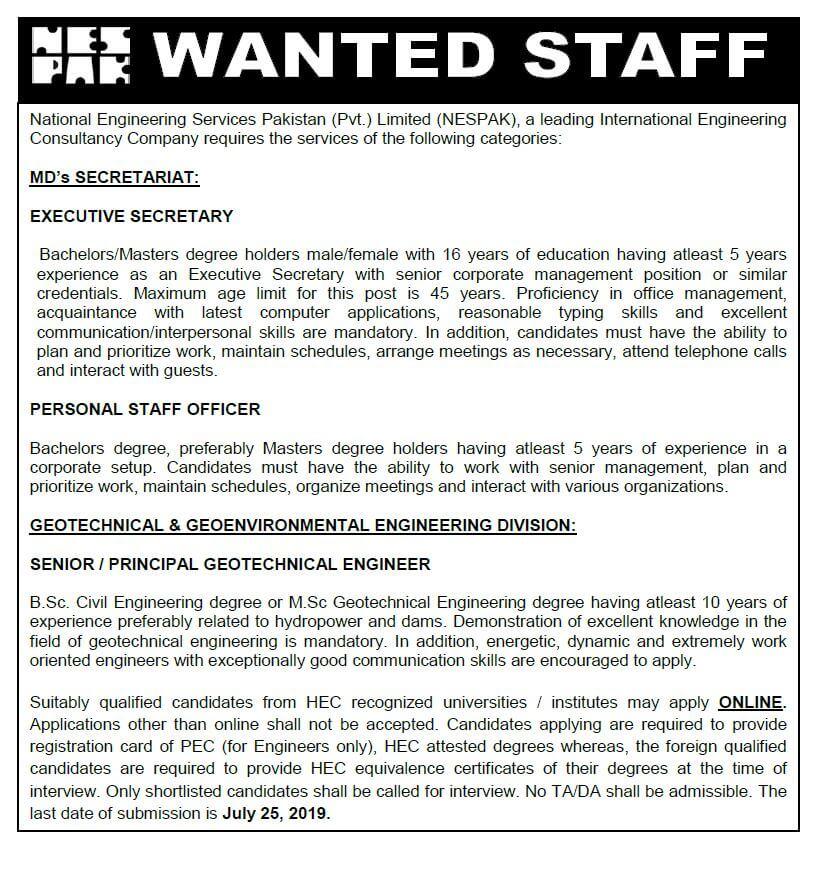 NESPAK Jobs 2019 National Engineering Services Pakistan Jobs 2019