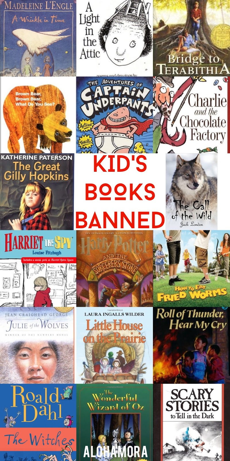 Children's/Juvenile/Kids Books that have been Banned.  A fabulous book list of banned books that are absolutely great reads for all sorts of difficul reasons.  This book list is to celebrate Banned Book Week.  A great list of books boys, girls, reluctant readers, and elementary to middle school students alike will enjoy.  Alohamora Open a Book http://www.alohamoraopenabook.blogspot.com/