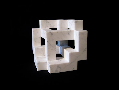 Digital Cube  marble stone sculpture