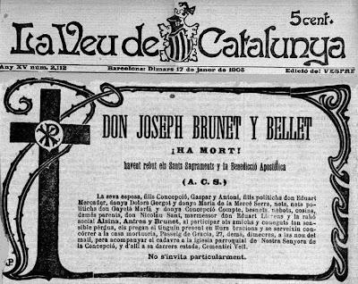 Esquela de Josep Brunet i Bellet fallecido el 17 de enero de 1905