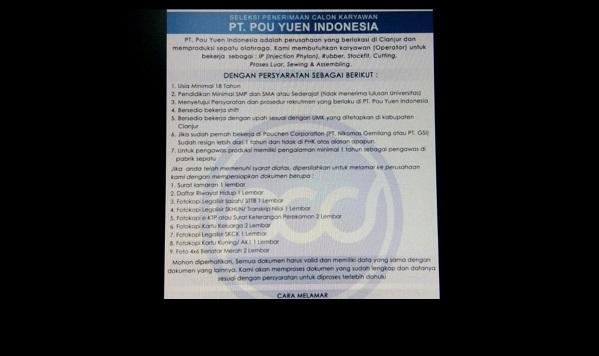 Lowongan Operator Untuk PT. POU YUEN INDONESIA di Cianjur